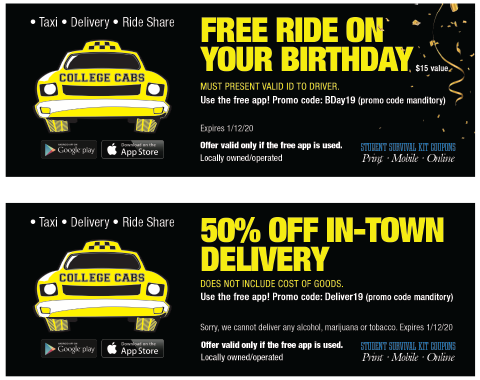 College Cabs coupon