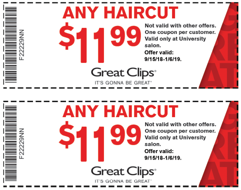 Current $ Great Clips Coupon – – Check out their promotions page for discounts on your next purchase of a cut.. Current Promotions – Save when you check out their promotions available. Anytime a new deal is release it will come up on this page. Save with $ for a Great Clips Haircut coupon in
