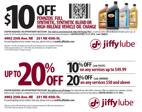 Jiffy Lube Coupon Uw Student Survival Kit