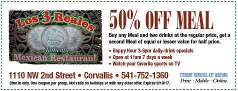 Los 3 Reales Mexican Restaurant coupon
