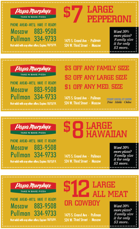 image about Papa Murphy's $3 Off Printable Coupon identified as Papa murphys discount codes printable sacramento