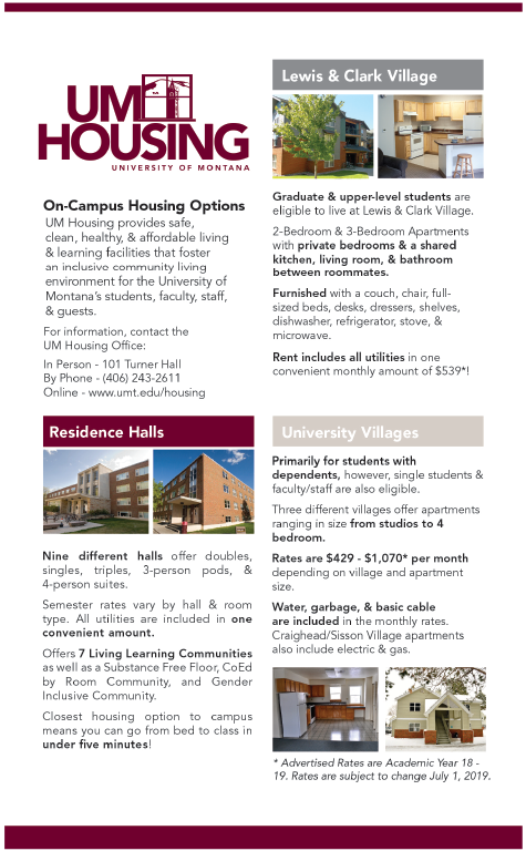 UM Housing and Residence Life ad