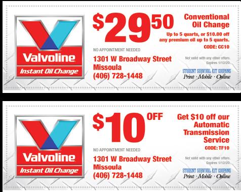 Oil Change Deals >> Valvoline Quick Change Coupons Iup Coupons